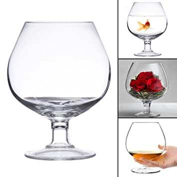 Footed Glass 9h Vase Flower Terrarium Fish Bowl Candle Holder Xl