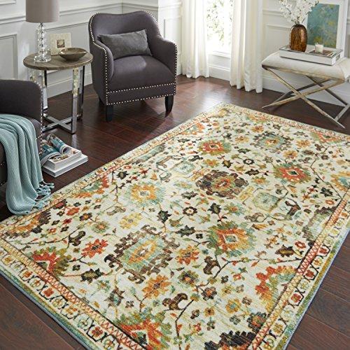 Mohawk Home Z0142 A453 096120 EC Prismatic Springfield Sierra Boho Floral Precision Printed Area Rug, 8'x10', White (Yellow Sage)