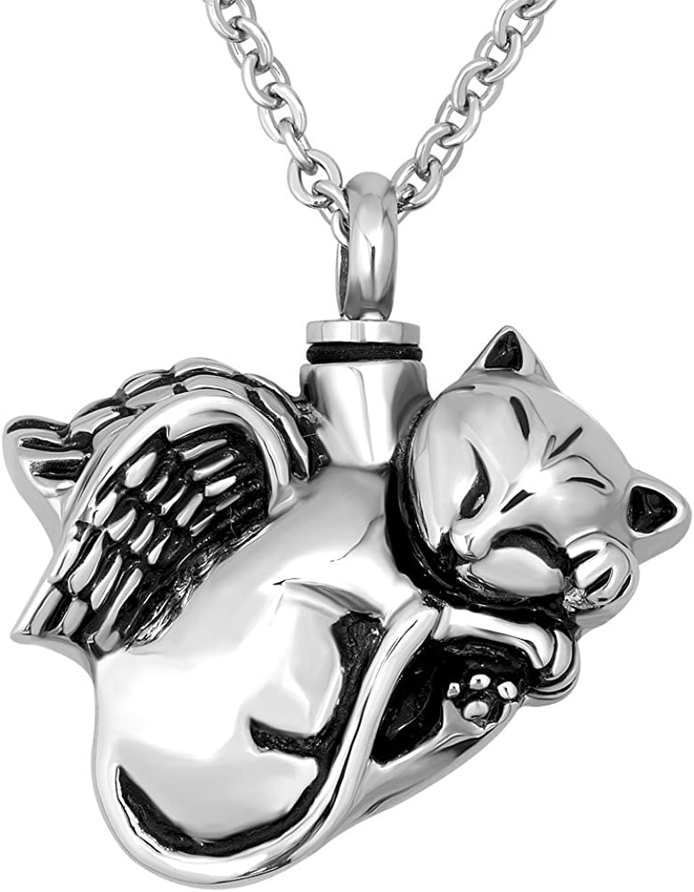 Pets Love Cremation Memorial Ashes Stainless Steel Cat Silhouette Urn Locket Necklace on Stainless Steel Chain Family Kitten