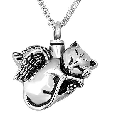 Korliya Collar de urna de gato para cenizas, colgante conmemorativo, joyería de cremación: Amazon.es: Joyería