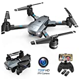 SNAPTAIN A15 Foldable FPV WiFi Drone w/Voice Control/120°Wide-Angle 720P HD Camera/Trajectory Flight/Altitude Hold/G-Sensor/3D Flips/Headless Mode/One Key Return/2 Modular Batteries/App Control