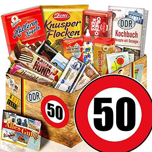 DDR Produkte L – Zahl 50 – Geburtstags Geschenk Papa – Süßigkeiten Box