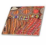 3dRose Danita Delimont - Jewelry - Africa, Kenya, Mara Ashnil. Masai tribal jewelry and ornamentation. - 4 Inch Ceramic Tile (ct_276458_1)