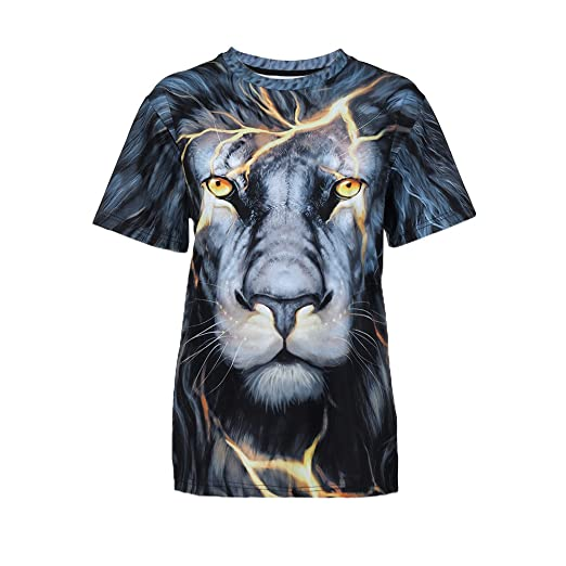6c4909bb3fe7 Men s Plus Size Unisex Cool Animal 3D Print Pullover T-Shirt Short Sleeve  Tops Tee