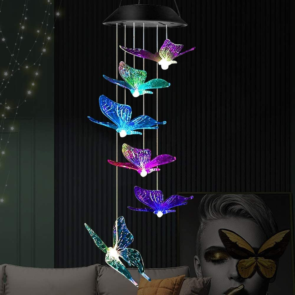 Klmnduo Solar Wind Chimes, Outdoor Solar Butterfly Wind Chimes 7 Color Changing LED Mobile Wind Chime Waterproof LED Solar Light for Porch Deck Garden Patio Decor.