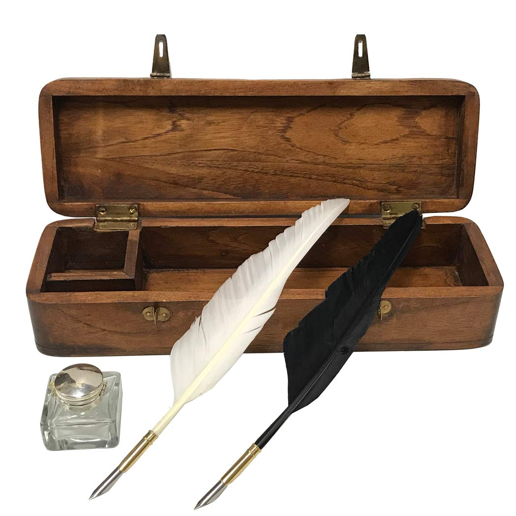 12'' Colonial Distressed, Teak Wood Quill Pen Writing Pen Box includes Clear Antique Glass Inkwell, Two Feather Quills and Black Ink Powder
