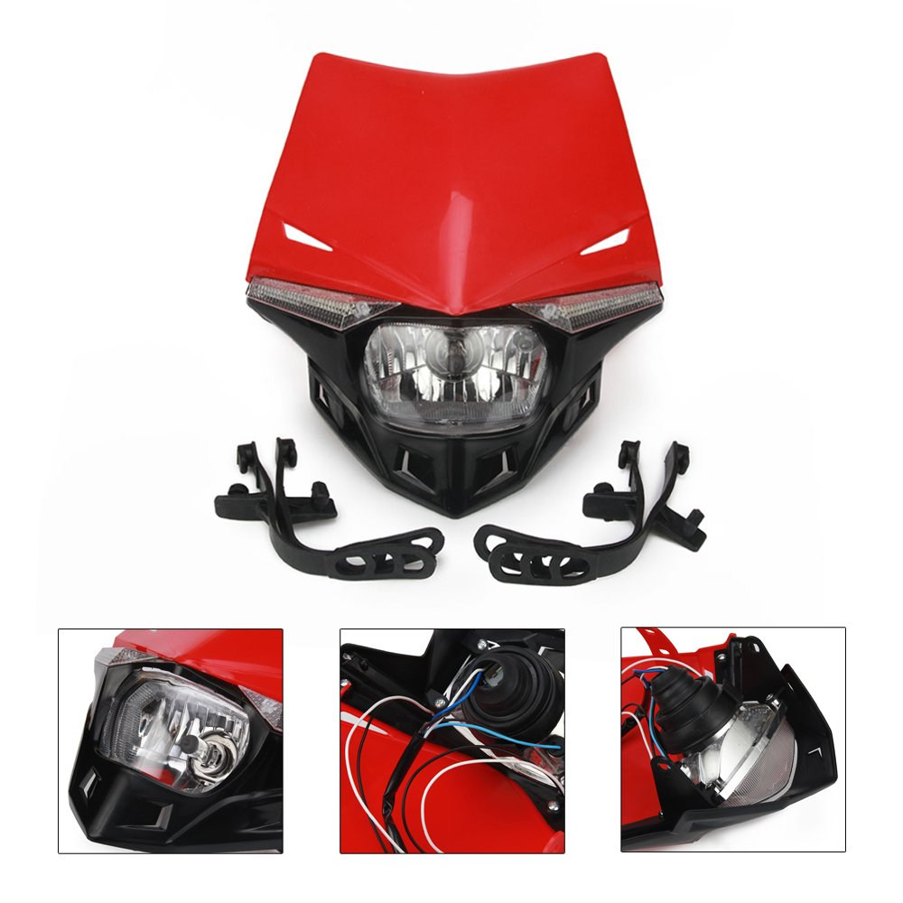 Blue Universal Headlight Head Lamp Light Fairing Street Fighter Mask Day Running Light Turn Signal Lights For Yamaha YZ125 YZ250 YZ250F YZ450F WR250F WR450F AnXin