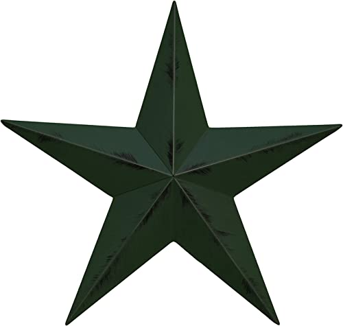 AMISH WARES 24 Inch Rustic Hunter Green Barn Star Galvanized Metal Tin Painted Barn Star Farmhouse Country Decor Rust Resistant Outdoor Decor