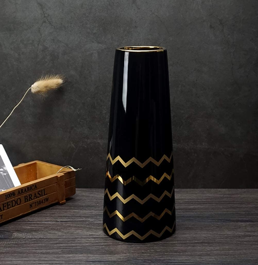 Amazon Com Lionwei Lionweli 9 5 Black Gold Finish Ceramic Flower Vase Home Decor Vase And Table Centerpieces Vase Ideal Gifts For Friends And Family Christmas Wedding Bridal Shower Home Kitchen