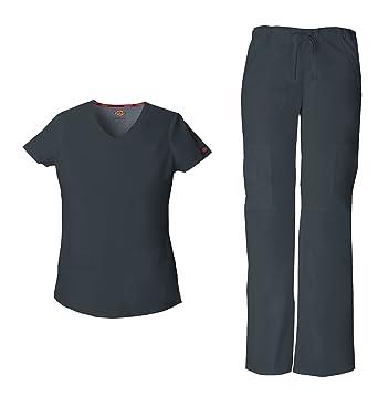 462d18ba902 Dickies EDS Signature Women's V-Neck Scrub Top 85906 & Drawstring Cargo  Scrub Pant 85100