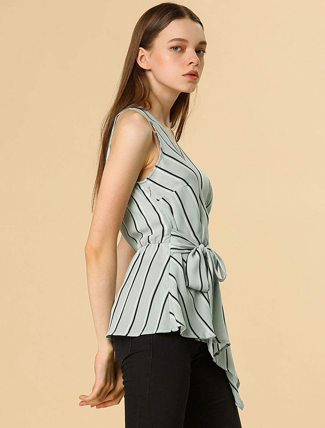 Allegra K Womens Striped Sleeveless V Neck Tie Waist Asymmetric Hem Wrap Peplum Top