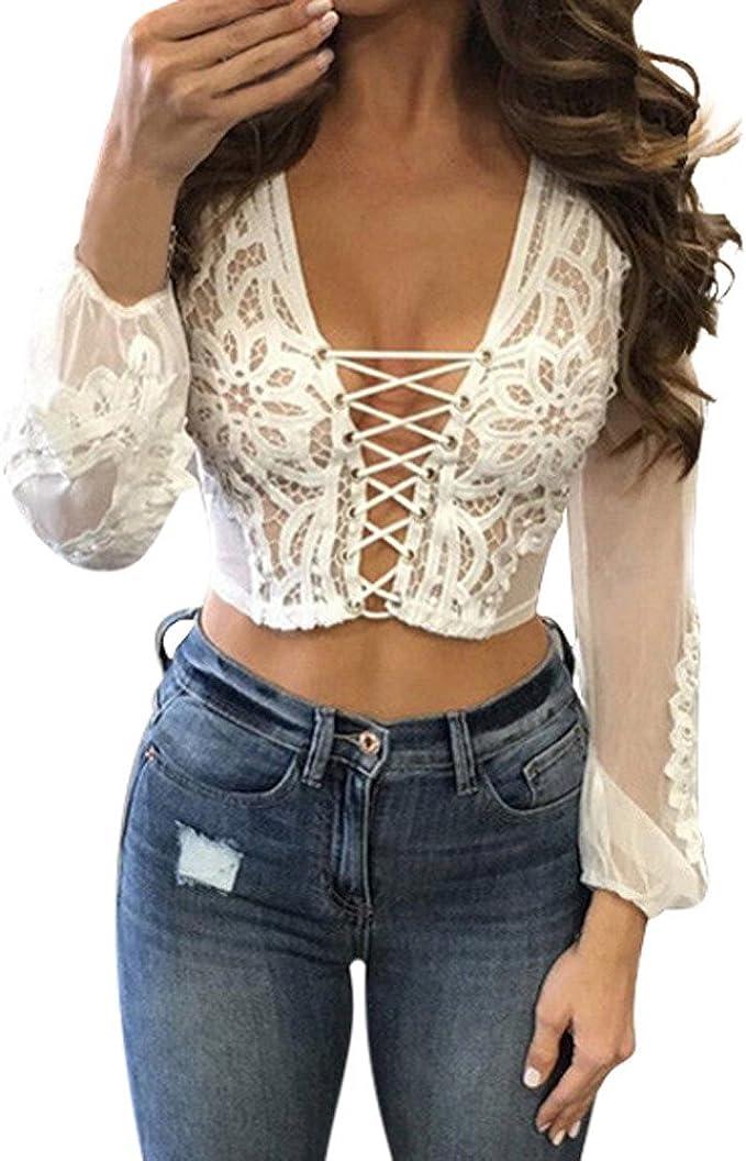 Summer Women Lace T-Shirts Mesh Sheer Party Blouse Ladies Tops Long Sleeve Shirt