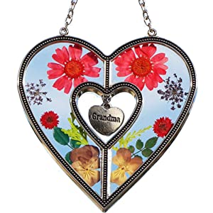 Grandma Heart Suncatchers Stained Glass Suncatchers for Windows Grandma Heart Windows with Pressed Flower Grandma - Heart Suncatcher - Grandmother Gifts Gift for Grandma's Day