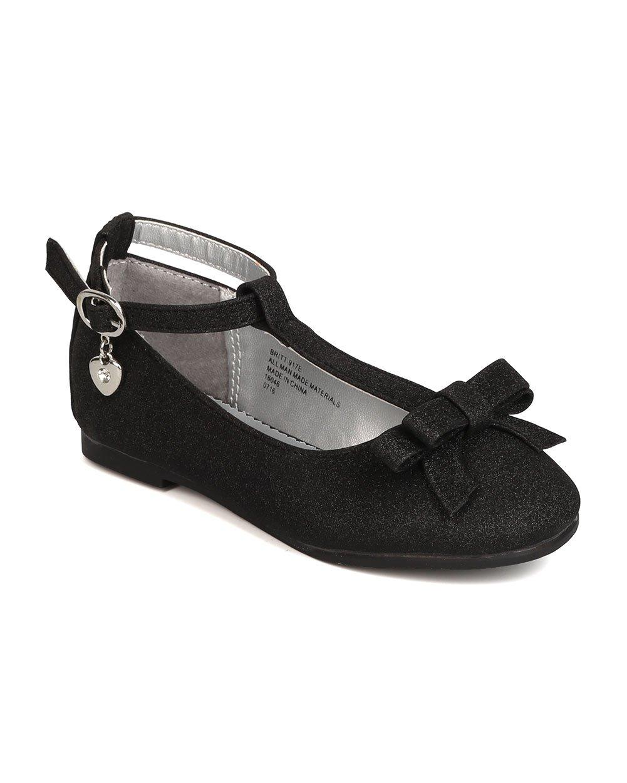 Girls Shimmer Leatherette Bow T-Strap Dangling Charm Flat FI74 - Black (Size: Little Kid 11)