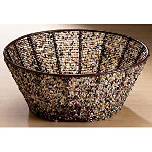 KINDWER Round Iron Basket with Multi Color Beads, 10-Inch