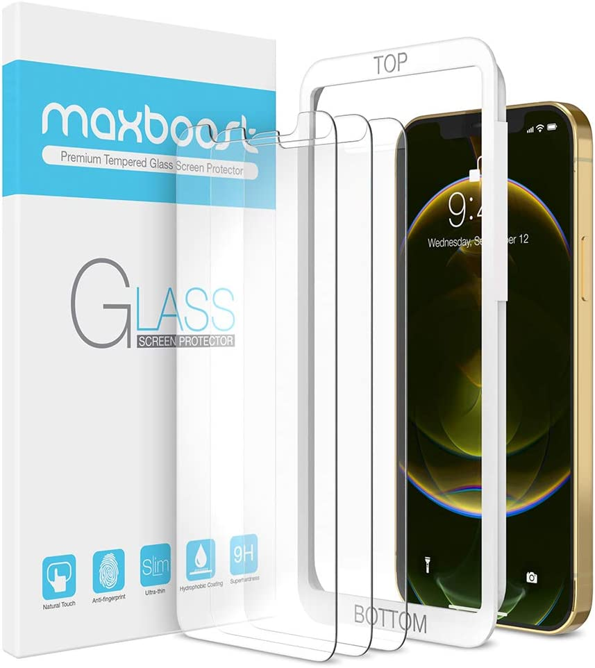 Maxboost Screen Protector Compatible with iPhone 12 Pro Max Screen Protector - 3 Pack, Tempered Glass Film for Apple iPhone 12 pro max 6.7-inch 2020 (w/Alignment Case Tool included)
