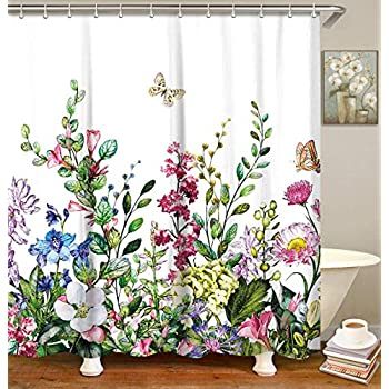 Zen Shower Curtains for Bath Spa Lily Stone Green Plant Leaves Blue Backdrop Polyester Fabric Waterproof Bath Shower Curtain 70.8 X 70.8 inches