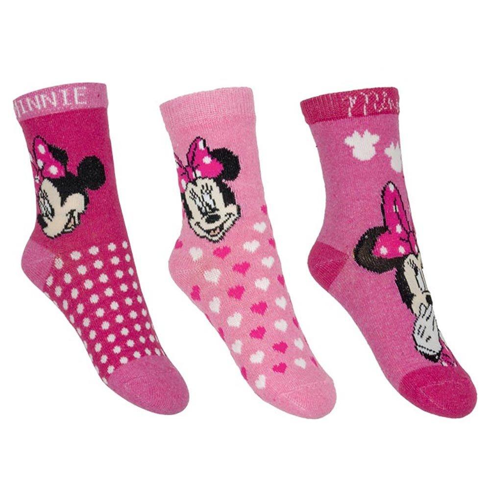Disney Childrens/Girls Minnie Mouse Socks (3 Pairs) (23/26) (Red) UTK361_1