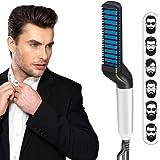 LiiTeak Quick Hair Beard Straightener Comb, Hair Styling Brush, Magic Straightener Straightening Curlers Comb, Electric Hair Comb for Men (Blue)