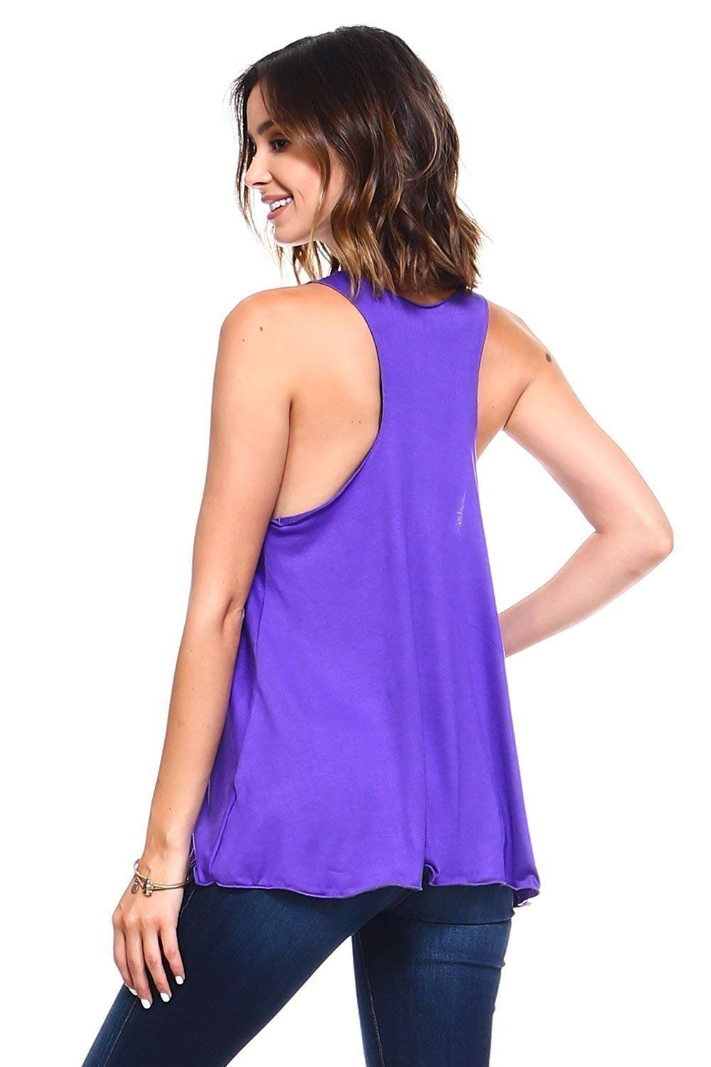 Simplicitie Womens Purple Sleeveless Loose Fit Flowy Workout Racerback Tank Top Plus Size Made in USA