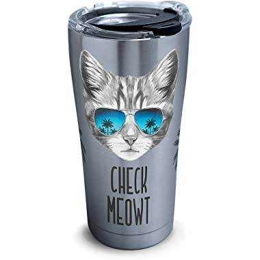 Tervis 1261377 Check Meowt Stainless Steel Tumbler with Clear and Black Hammer Lid 20oz, Silver