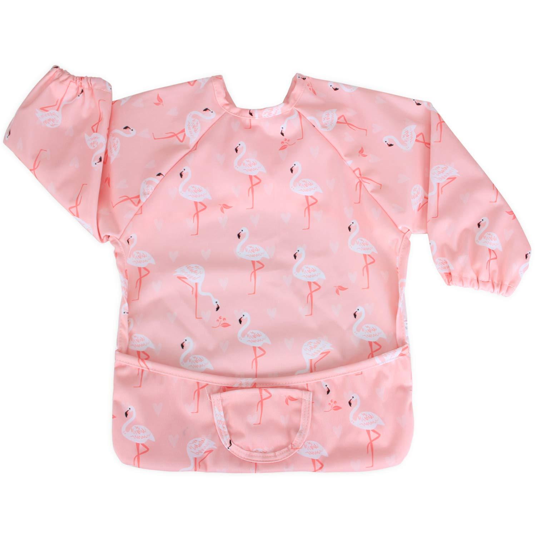 Luxja Baby Waterproof Sleeved Bib, Long Sleeve Bib for Toddler (6-24 Months), Flamingo