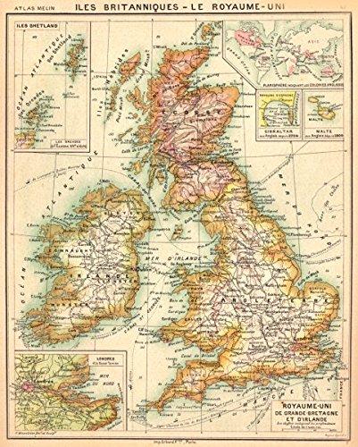 Map Of Uk 1900.Amazon Com Iles Britanniques Grande Bretagne Irlande Orcades
