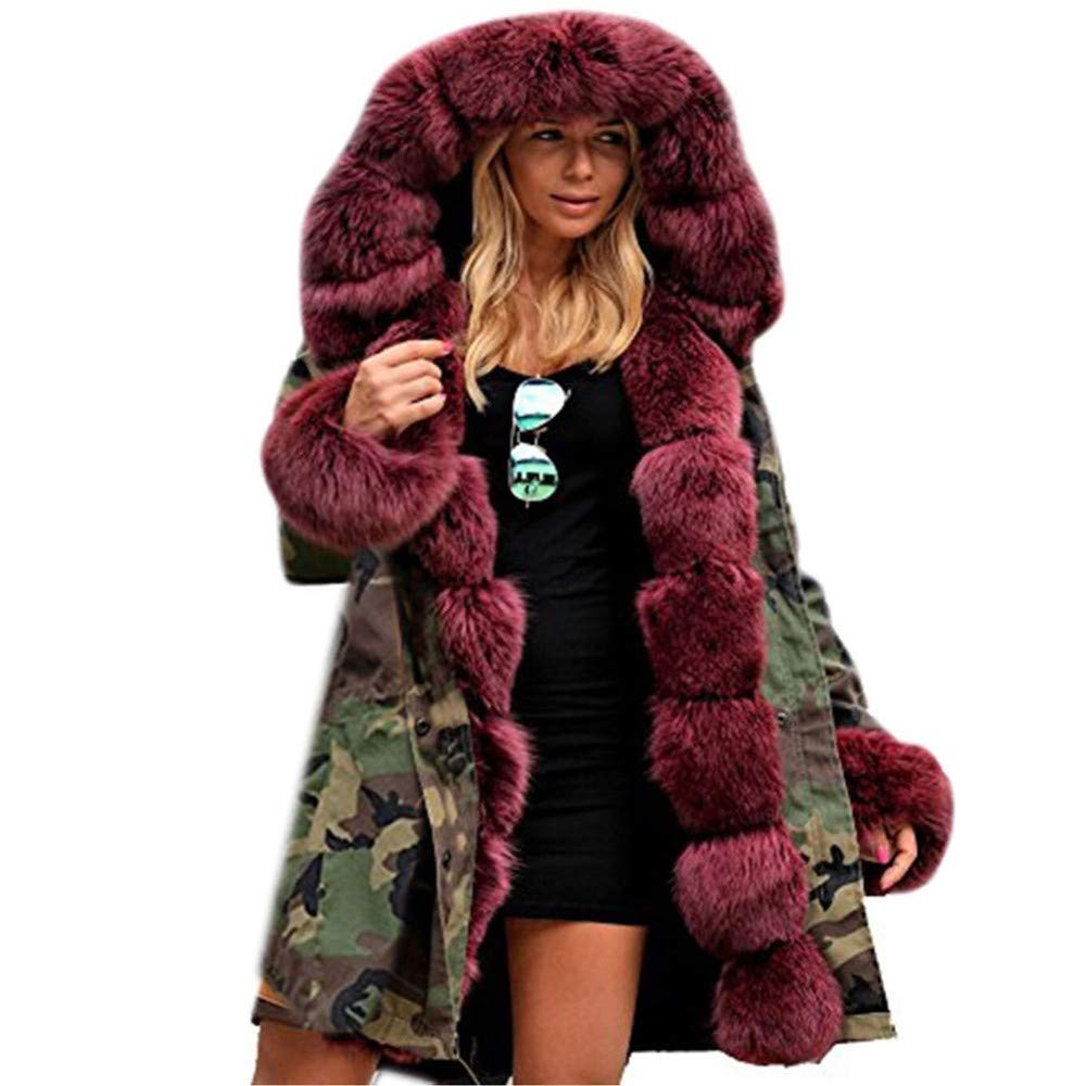 CHIDY Womens Thicken Warm Winter Coat Hood Parka Overcoat Long Jacket Outwear with Faux Fur Trim Hood(X-Large,Wine) by CHIDY