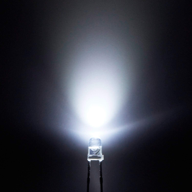 10 x 3mm//0.3cm Round Bulb White LED Light Emitting Diodes Circuit Lights