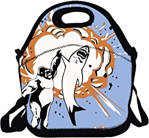 Neoprene Lunch Bag Insulated Lunch Box Tote for Women Men Adult Kids Teens Boys Teenage Girls Toddlers - Gorillas Shark Explosion High Five