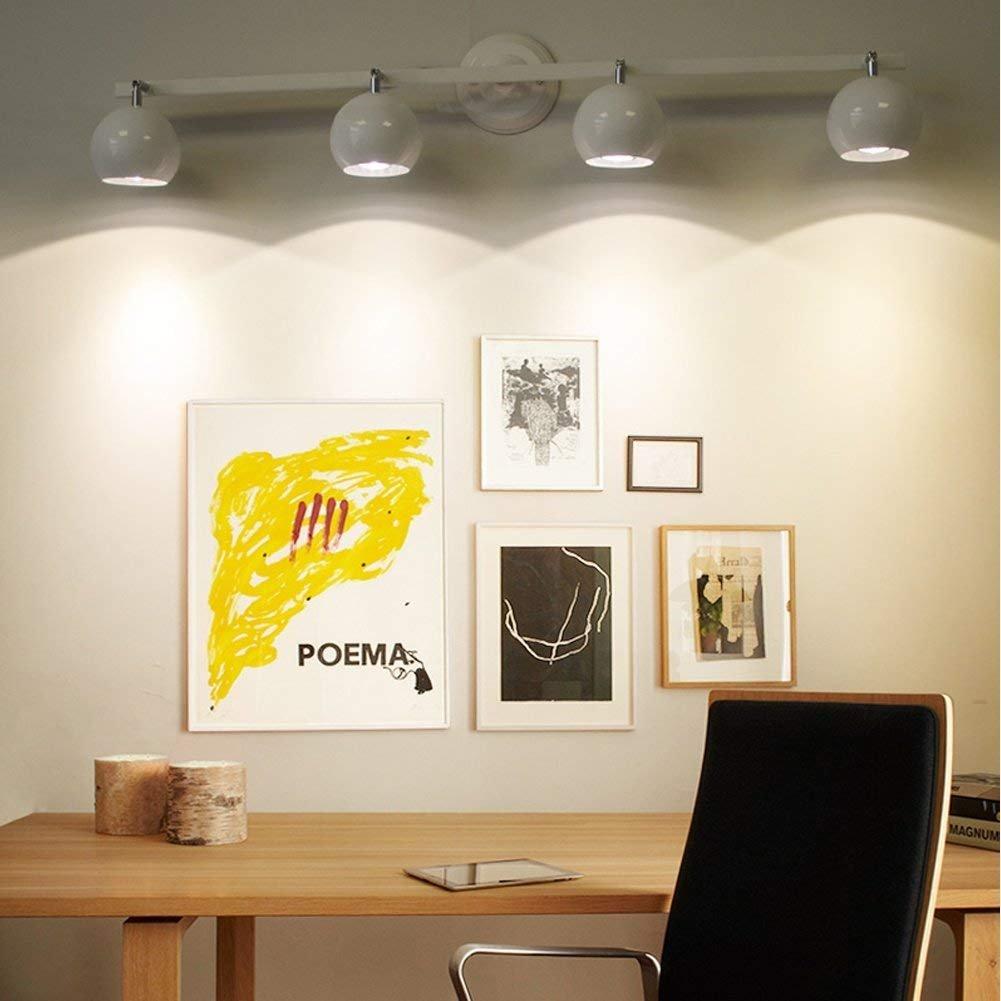 4-flammig E27 Downlight Modern Deckenleuchte Loft Spotleuchten LED Strahler Badleuchte Deckenlampe Schrankleuchte Wandleuchten Wandlampe Drehbar Einstellbar LED-Spots Weiß, 2-flammig