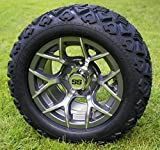 12'' RALLY Gunmetal Golf Cart Wheels and 20x10-12 DOT All Terrain Golf Cart Tires - Set of 4 - NO LIFT REQUIRED (read description)