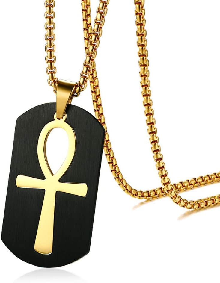 ABDYTE Collar Joyas Color Dorado Acero Inoxidable Colgante Hombres Clave para La Vida Egipto Cruz