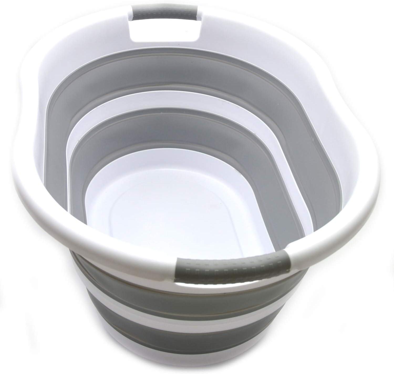 SAMMART Collapsible Plastic Laundry Basket - Foldable Pop Up Storage Container/Organizer - Portable Washing Tub - Space Saving Hamper/Basket (Oval, Grey)