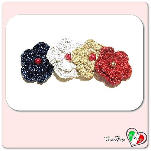 Set 4 flores de colores para aplicaciones navideñas, broches ...
