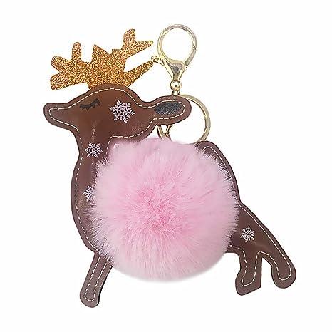 Cupcinu Llavero de Ciervo de Navidad Llavero Pompon Carteras Bolsos Llaves Colgante Llaves Decoraciones Regalo para