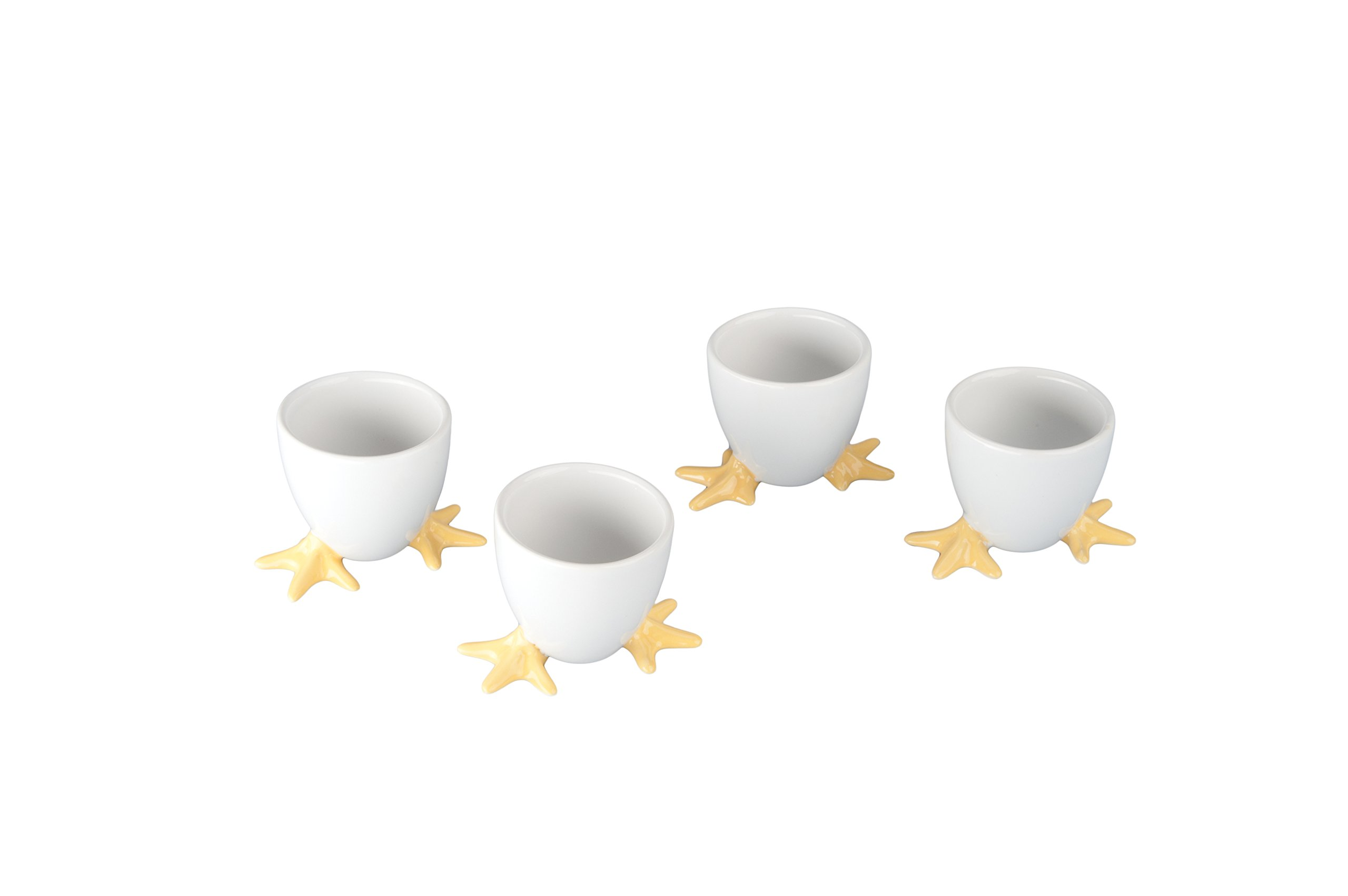 BIA Cordon Bleu White Chicken Footed Egg Cup with Yellow Feet, Set of 4