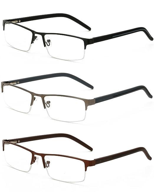 VEVESMUNDO Gafas de Lectura Hombre Mujer Media Montura ...
