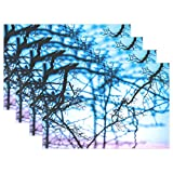 WIEDLKL Branches Abstract Branch Nature Tree Natural Placemats Set Of 4 Heat Insulation Stain Resistant For Dining Table Durable Non-slip Kitchen Table Place Mats
