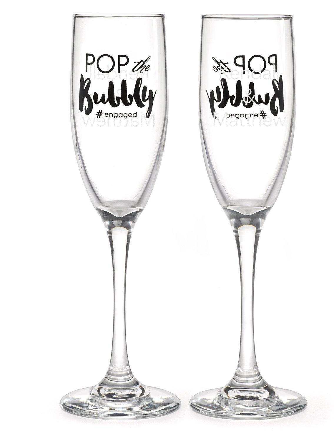 Hortense B. Hewitt 54873 Wedding Accessories, Champagne Toasting Flutes, #Engaged