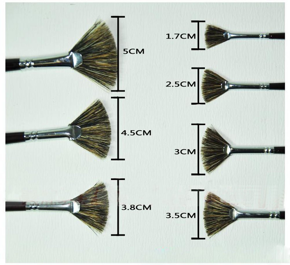 Fan-shaped Paintbrushes Handled Brush Sets, 7-Piece by PANDA SUPERSTORE (Image #2)
