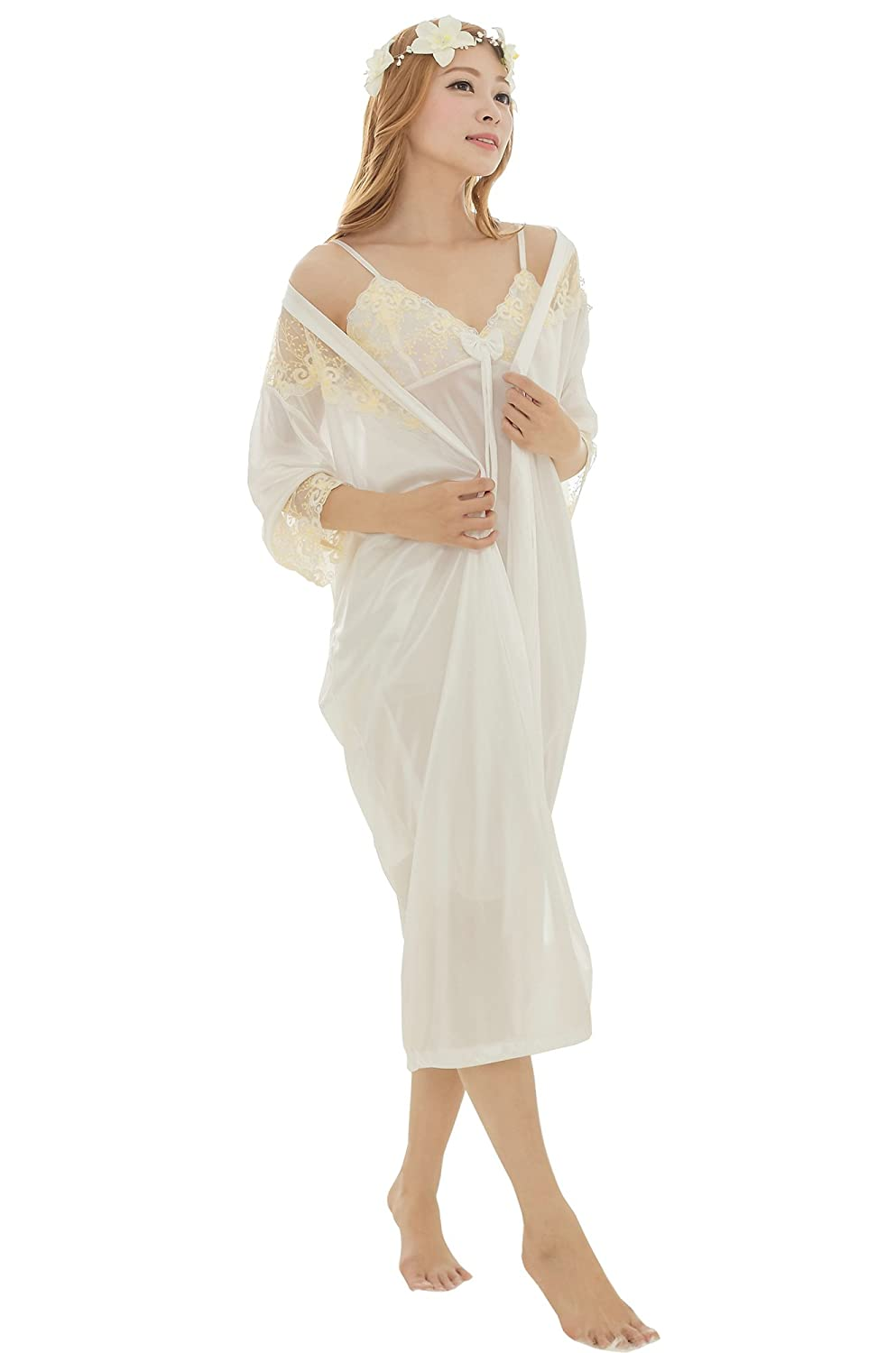 32505bb33bc1 Camellia12 Women's Sheer Floral Lace Broidery Chemise Chic 2pcs Satin Robe  Set White, One Size at Amazon Women's Clothing store:
