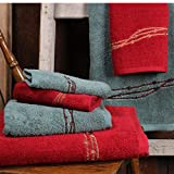 Embroidered Barbwire Western Towel Set, Red
