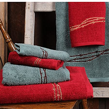 Rod's Embroidered Barbwire Western Towel Set, Turquoise