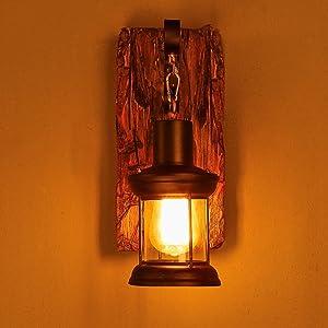 Good thing Applique Rétro Arts de bois restaurant magasin de vêtements de la lanterne café américaine verre nostalgique lampe murale chambre