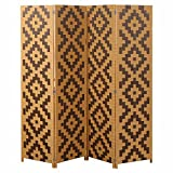 MyGift Woven Rattan 4 Panel Screen, Southwest Folding Room Divider, Beige