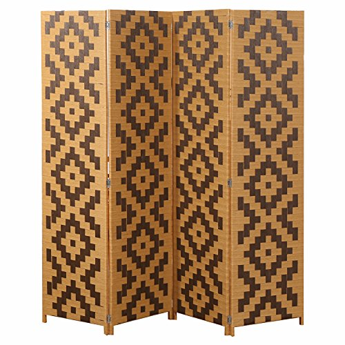 MyGift Woven Rattan 4 Panel Screen, Southwest Folding Room Divider, Beige (Wall Temporary Dividers)