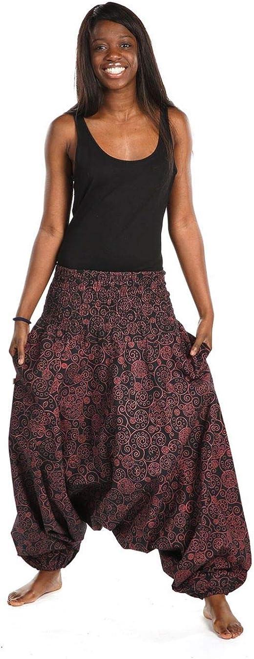 Pantal/ón sarwel para mujer smocke en espiral /étnico elegante FANTAZIA talla /única fabricaci/ón /ética desde 2004. confort en casa color negro 100 /% algod/ón creado en Francia c/ómodo y original