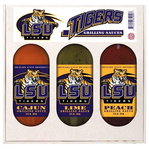 LSU Tigers NCAA Grilling Gift Set (12oz Cajun, 12oz Lime, 12oz (Lsu Tigers Gift Set)