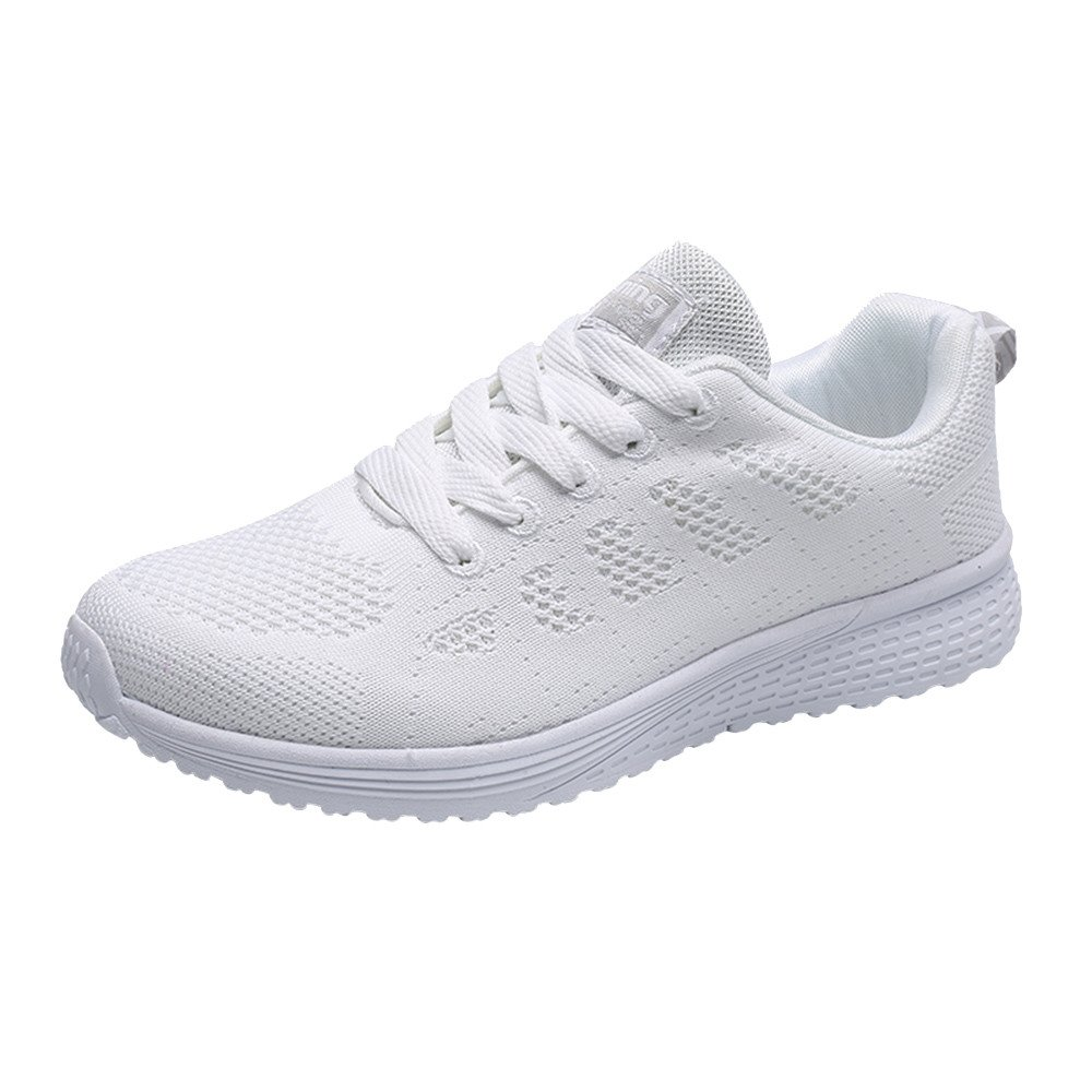 Kauneus  Walking Shoes for Women Casual Lace Up Lightweight Tennis Running Shoes White by Kauneus Fashion Shoes